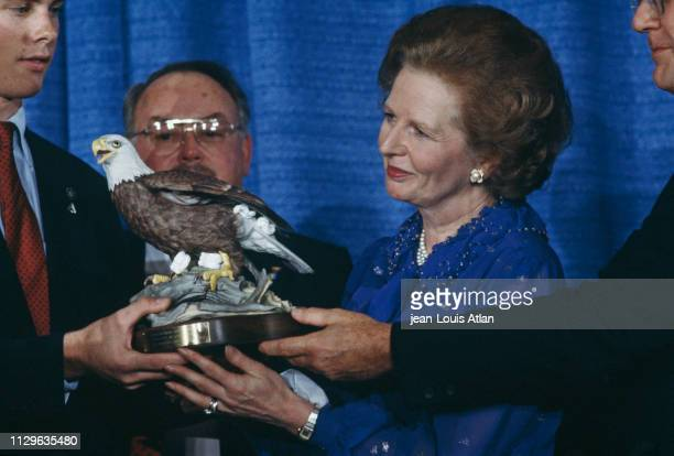 Margaret Thatcher presents at the Conservative Party Conference in Washington
