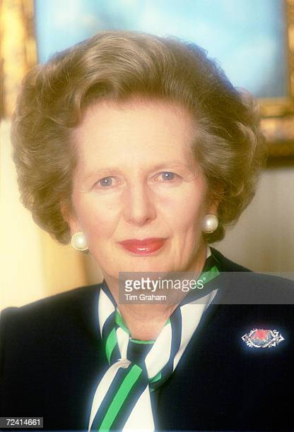 Margaret Thatcher Prime Minister and leader of the Conservative Party at 10 Downing Street London