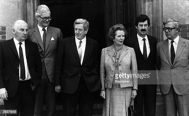 Margaret Thatcher prime minister of Great Britain and Garret FitzGerald prime minister of the Republic of Ireland centre with from left to right...