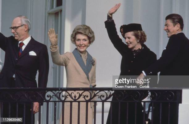 Margaret Thatcher with her husband Denis accompanied by Ronald Reagan and his wife Nancy