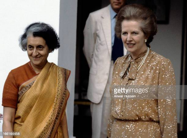 Margaret Thatcher with Indira Gandhi when they attend the Commonwealth Conference in November 1983 in Delhi India