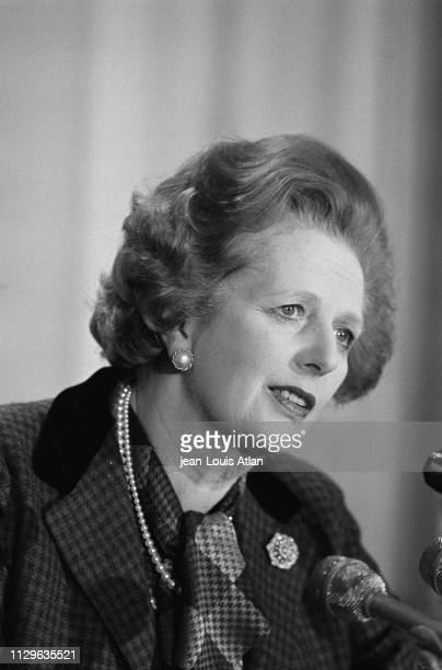 Margaret Thatcher's press conference at the Embassy of England.