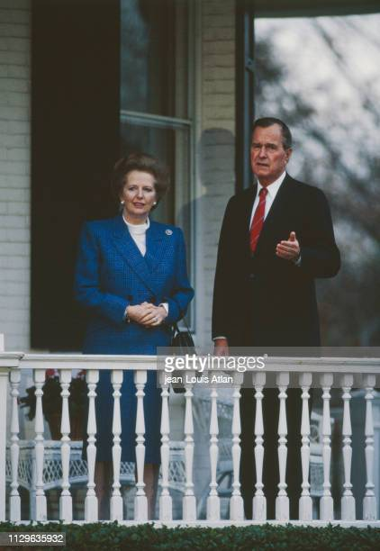 Margaret Thatcher's visit to the US received by George Bush at the residence of the Vice President
