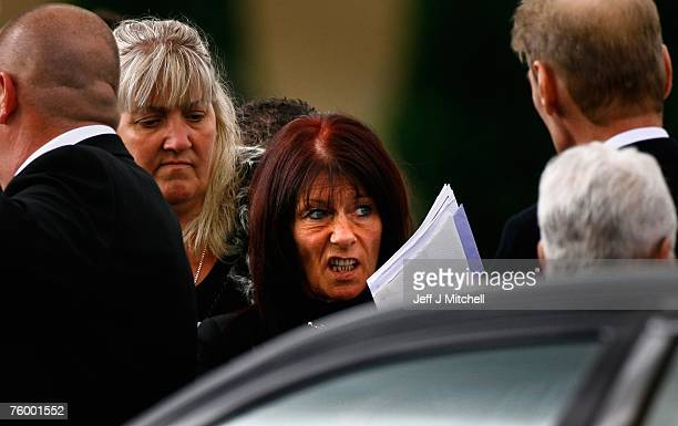 Margaret the widow of one of Glasgow's most notorious gangsters Tam McGraw attends his funeral at Daldowie crematorium on August 7 2007 in Scotland...