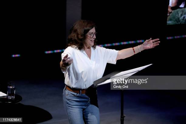 Margaret Trudeau speaks onstage at Margaret Trudeau Certain Woman Of An Age at Minetta Lane Theatre in NYC at the Minetta Lane Theatre on September...