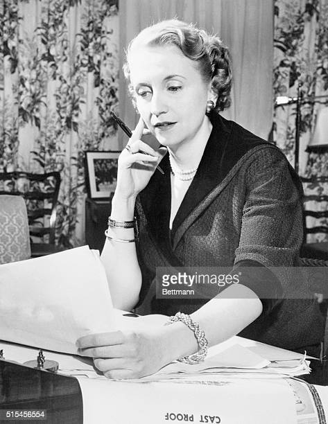 Margaret Truman meditates over a passage of her memoirs while reading proofs of her autobiography in her New York apartment. The book, Souvenir, is...
