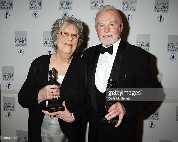Margaret Tyzack and Derek Jacobi pose with their Best Actress Award and Best Actor Award during The Laurence Olivier Awards at The Grosvenor House...