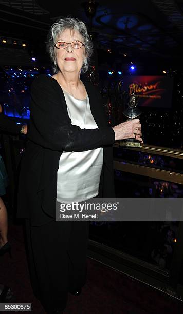 Margaret Tyzack poses with the Best Actress Award for The Chalk Garden during The Laurence Olivier Awards at The Grosvenor House Hotel on March 8...