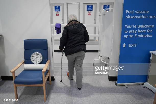 Margaret Wakefield from Langley Park leaves the post vaccine observation area after receiving her AstraZeneca/Oxford University Covid-19 Vaccine on...