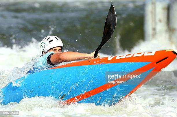 Margaret Webster of Australia competes in the Women's Kayak during day four of the Australian Youth Olympic Festival at the Penrith White Water...