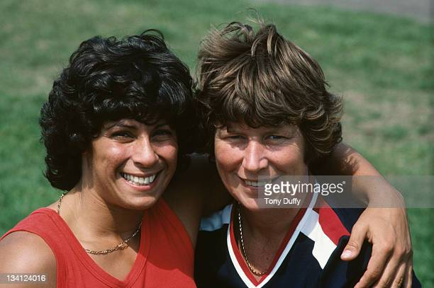 Margaret Whitbread the Great Britain national javelin coach with Fatima Whitbread during training on 1st September 1977 at the Crystal Palace in...