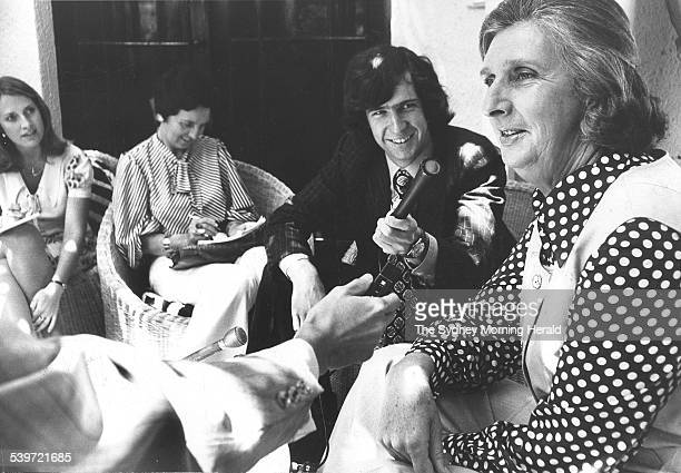 Margaret Whitlam gives a press conference at The Lodge in Canberra 9 November 1973 SMH Picture by THOMSON
