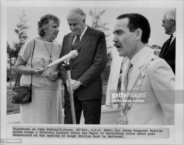Margaret Whitlam gives Gough a friendly pointer while the Mayor of Canterbury talks about past endeavours at the opening of Gough Whitlam Park in...