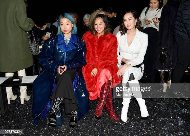 Margaret Zhang, Aimee Song, and Chriselle Lim attend the Sies Marjan FW'19 Runway Show at SIR Stage on February 10, 2019 in New York City.