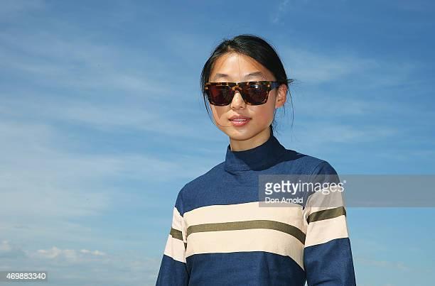Margaret Zhang arrives at Ten Pieces show at MercedesBenz Fashion Week Australia 2015 at Bondi Icebergs on April 16 2015 in Sydney Australia