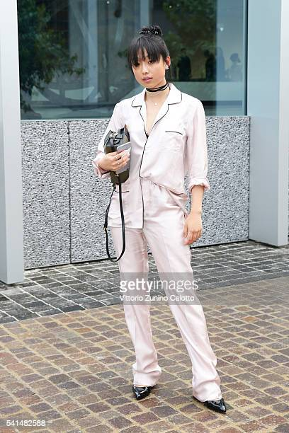 Margaret Zhang attends private dinner hosted by Miuccia Prada and Patrizio Bertelli during Milan Men's Fashion Week SS17 at Fondazione Prada on June...