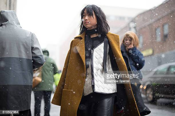 Margaret Zhang is seen at Philip Lim during New York Fashion Week: Women's Fall/Winter 2016 on February 15, 2016 in New York City.