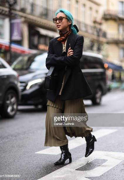 Margaret Zhang is seen outside the Giambattista Valli show during Paris Fashion Week: AW20 on March 02, 2020 in Paris, France.