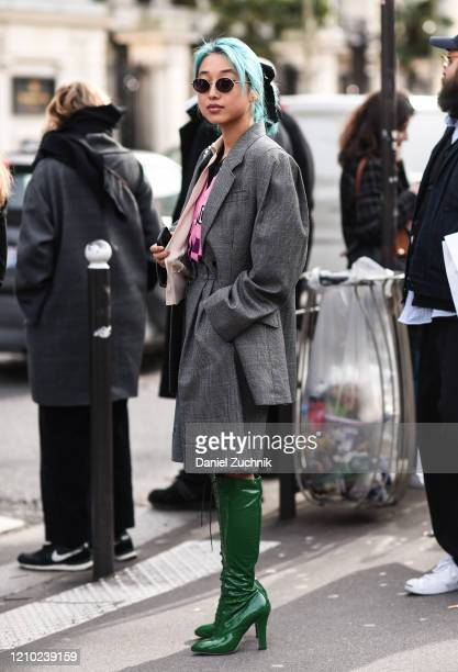 Margaret Zhang is seen outside the Miu Miu show during Paris Fashion Week: AW20 on March 03, 2020 in Paris, France.