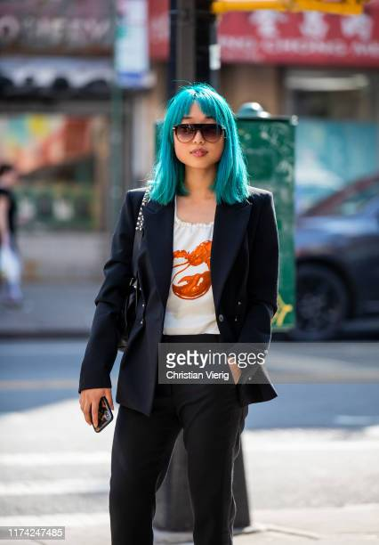 Margaret Zhang is seen wearing black blazer and pants outside Dion Lee during New York Fashion Week September 2019 on September 11, 2019 in New York...