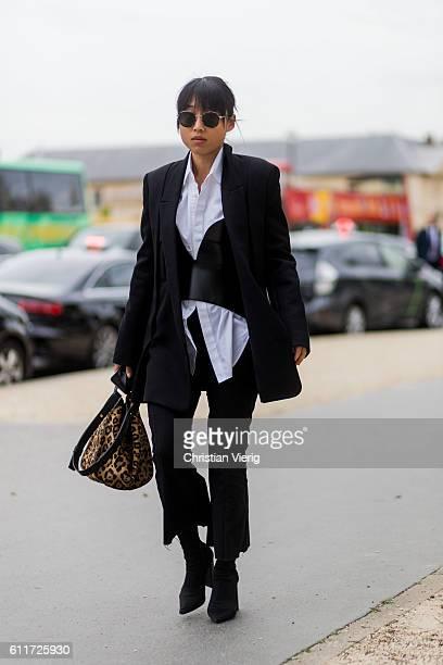 Margaret Zhang outside Loewe on September 30, 2016 in Paris, France.