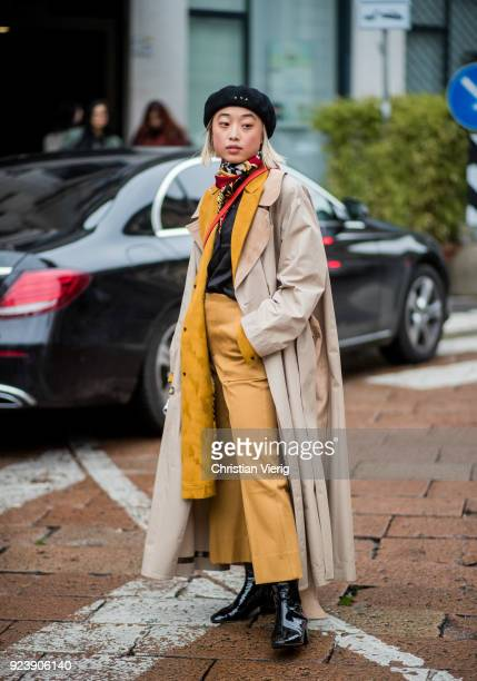 Margaret Zhang seen outside Salvatore Ferragamo during Milan Fashion Week Fall/Winter 2018/19 on February 24 2018 in Milan Italy
