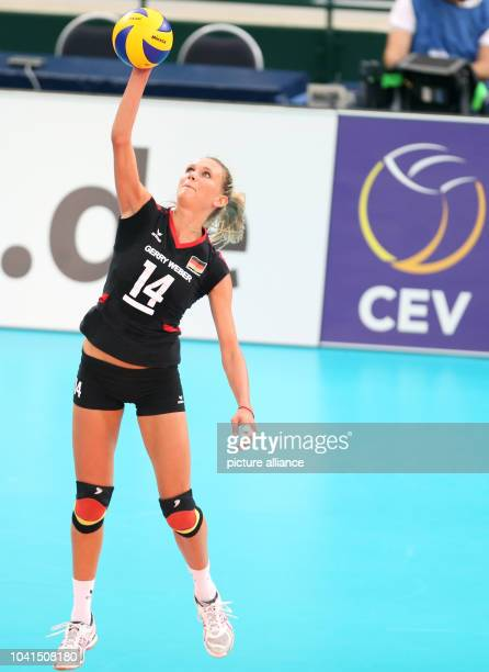 Margareta Anna Kozuch of Germany in action during their women's CEV Volleyball European Championship Group A match between Germany and Spain at Gerry...