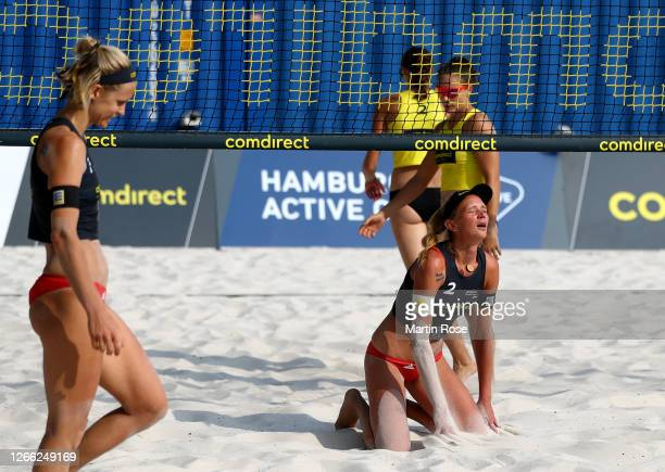 Margareta Kozuch of Germany reacts during the match against Kira Walkenhorst and Anna-Lena Grüne of Germany on day one of the comdirect Beach Tour...