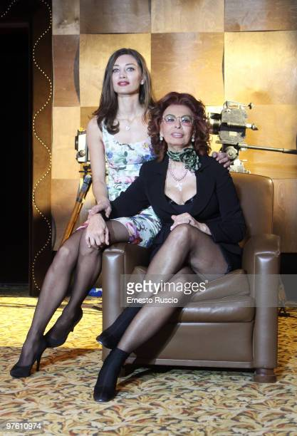 Margareth Made and Sophia Loren attend the 'La Mia Casa E' Piena Di Specchi' photocall at Sala Fellini Cinecitta on March 10 2010 in Rome Italy