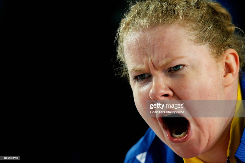 Margaretha Sigfridsson of Sweden screams instructions to team mates in the match between USA and Sweden during Day 2 of the Titlis Glacier Mountain World Women's Curling Championship at the Volvo Sports Centre on March 17, 2013 in Riga, Latvia.