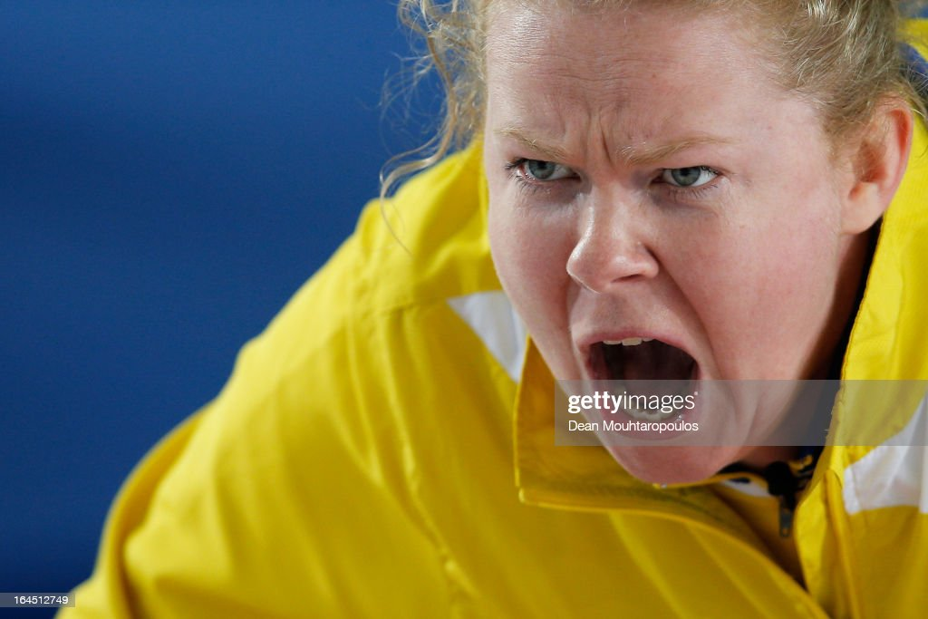 Margaretha Sigfridsson of Sweden screams instructions to team mates during the Gold medal match between Sweden and Scotland on Day 9 of the Titlis Glacier Mountain World Women's Curling Championship at the Volvo Sports Centre on March 24, 2013 in Riga, Latvia.
