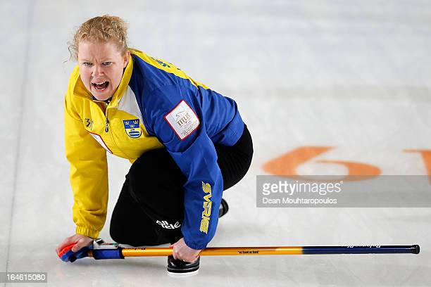 Margaretha Sigfridsson of Sweden screams instructions to team mates during the Gold medal match between Sweden and Scotland on Day 9 of the Titlis...