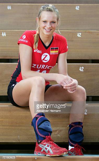 Margarethe Kozuch poses for photographs during the photo call of the Women German National Volleyball Team on October 16 2006 in Heidelberg Germany