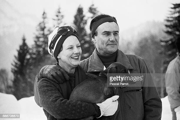 Margarethe Queen of Denmark and her husband Henrik Prince Consort of Denmark on a ski holiday in Switzerland | Location Gsteig Switzerland