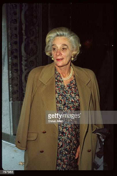 Margaretta Happy Rockefeller attends a memorial service for broadcasting executive William Paley November 12 1990 in New York City Paley founded the...