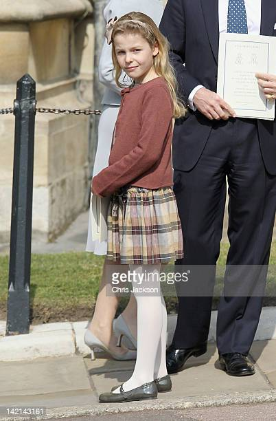 Margarita ArmstrongJones leaves a thanksgiving service for the Queen Mother and Princess Margaret at St George's Chapel on March 30 2012 in Windsor...