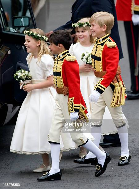 Margarita ArmstrongJones William LowtherPinkerton Lady Louise Windsor and Tom Pettifer arrive for the marriage of Their Royal Highnesses Prince...