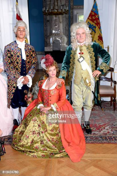Margarita Broich Emilio Sakraya Moutaoukkil and Bernhard Schuetz during the Photo Call at the set of the ARD fairytale TV movie 'Der Schweinehirt' at...