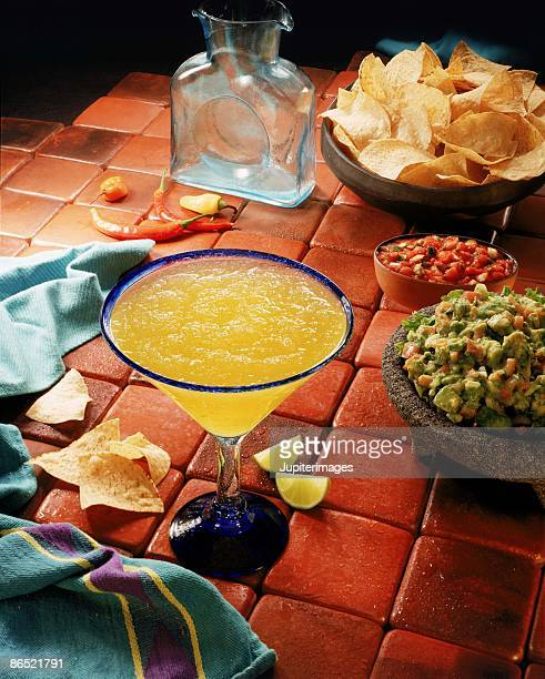Margarita , chips and guacamole