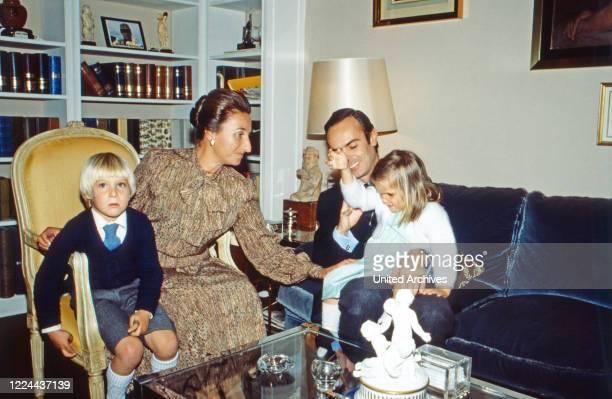 Margarita de Borbon with husband Don Carlos Zurita y Delgado with their children Alfonso Juan Carlos and Maria Sofia at Madrid Spain 1978