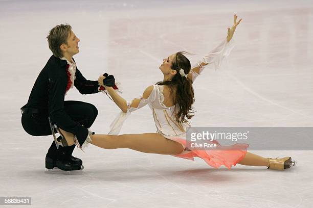 Margarita Drobiazko and Povilas Vanagas of Lithuania in action during the Ice Free Dance at the ISU European Figure Skating Championships on January...