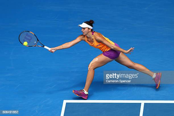 Margarita Gaspatryan of Russia plays a forehand in her fourth round match against Serena Williams of the United States during day seven of the 2016...