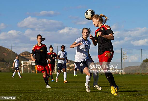 Margarita Gidion of Germany heads the ball during the U23 friendly match between England and Germany at la Manga Club on March 3 2014 in La Manga...
