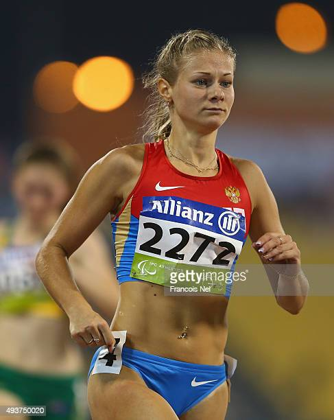 Margarita Goncharova of Rusia competes in the Women's 100m T38 Final during the Evening Session on Day One of the IPC Athletics World Championships...