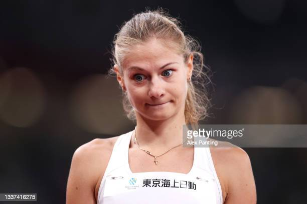 Margarita Goncharova of Team Russian Paralympic Committee reacts while competing in the Women's Long Jump - T38 Final on day 7 of the Tokyo 2020...