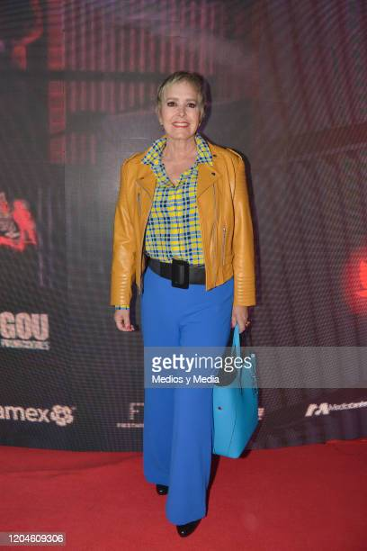 Margarita Gralia poses for photo during 'Hoy no me Puedo Levantar' musical red carpet at Centro Cultural 2 on February 6 2020 in Mexico City Mexico