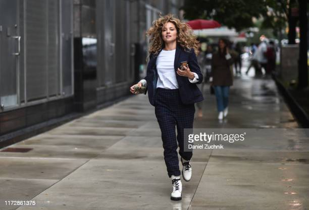 Margarita Levieva is sween wearing a Rag & Bone jacket and pants outside the Rag & Bone show during New York Fashion Week S/S20 on September 06, 2019...
