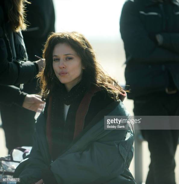 Margarita Levieva on the set of The Deuce season 2 at Coney Island Brooklyn on March 5 2018 in New York City