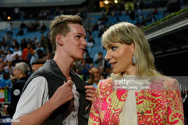 Margarita LouisDreyfus Olympique de Marseille owner with her son Kyril before the French First League soccer match Olympique de Marseille Vs Paris...