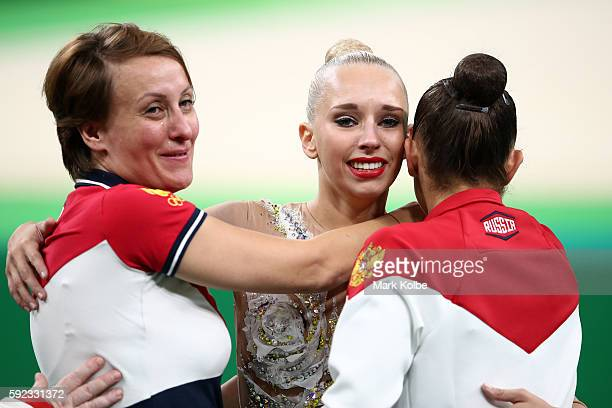 Margarita Mamun and Yana Kudryavtseva of Russia celebrate during the Women's Individual All-Around Rhythmic Gymnastics Final on Day 15 of the Rio...